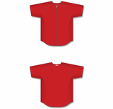 Athletic Knit (AK) BA5200 Red Full Button Baseball Jersey