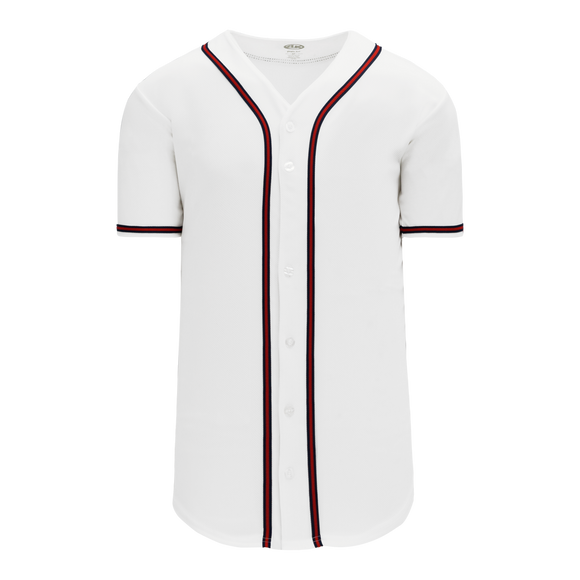 Athletic Knit (AK) BA5500-ATL598 Atlanta White Full Button Baseball Jersey