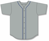 Athletic Knit (AK) BA5500-DET575 Detroit Grey Full Button Baseball Jersey