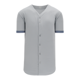 Athletic Knit (AK) BA5500A-NYY573 New York Grey Adult Full Button Baseball Jersey