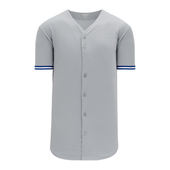 Athletic Knit (AK) BA5500-TOR572 Toronto Grey Full Button Baseball Jersey