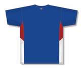 Athletic Knit (AK) BA563-333 Royal Blue/Red/White Pullover Baseball Jersey