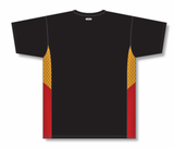 Athletic Knit (AK) BA563 Black/Gold/Red Pullover Baseball Jersey