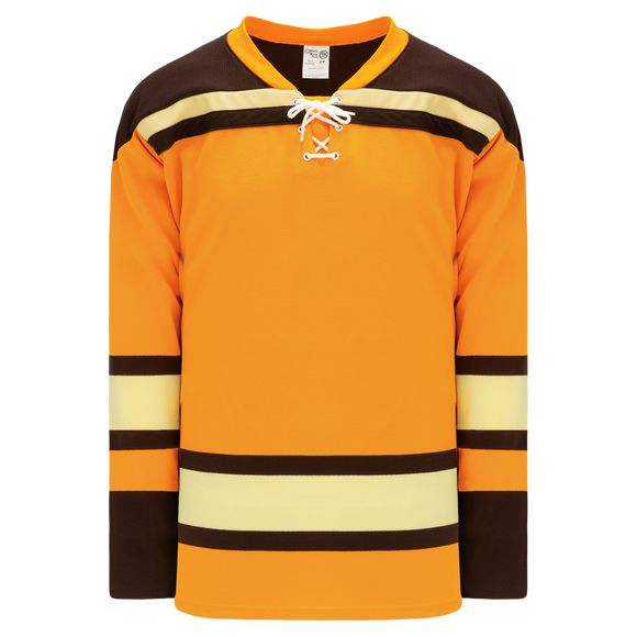 Athletic Knit (AK) H550BKA-BOS291BK Pro Series - Adult Knitted Boston Bruins Winter Classic Gold Hockey Jersey