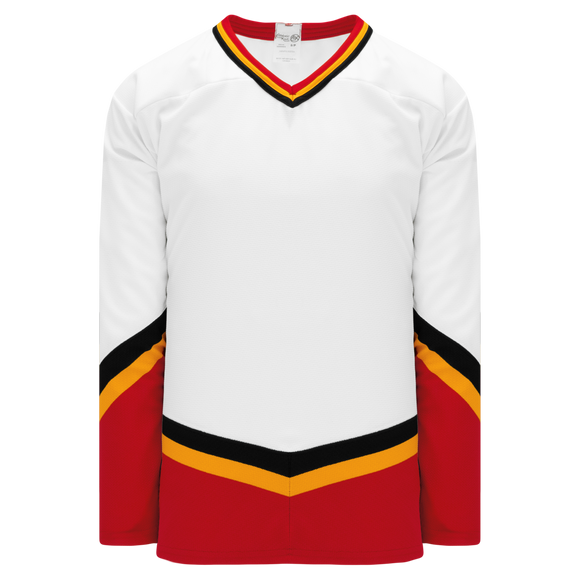 Athletic Knit (AK) H550BKY-CAL682BK Pro Series - Youth Knitted New Calgary Flames Third White Hockey Jersey
