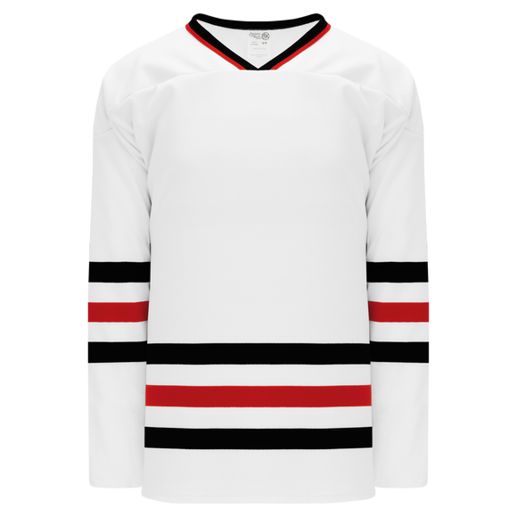 Athletic Knit (AK) H550BK-CHI305BK Pro Series - Knitted Chicago Blackhawks White Hockey Jersey