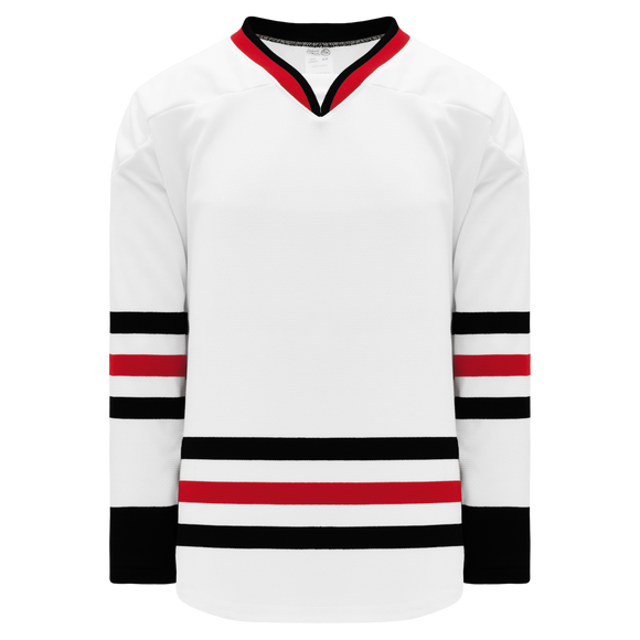 Athletic Knit (AK) H550BK-CHI365BK Pro Series - Knitted 2007 Chicago Blackhawks White Hockey Jersey