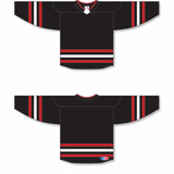 Athletic Knit (AK) H550BA-CHI670B New Adult Chicago Blackhawks Third Black Hockey Jersey