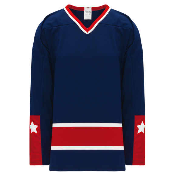 Athletic Knit (AK) H550BK-CLM690BK Pro Series - Knitted Columbus Blue Jackets Navy Hockey Jersey