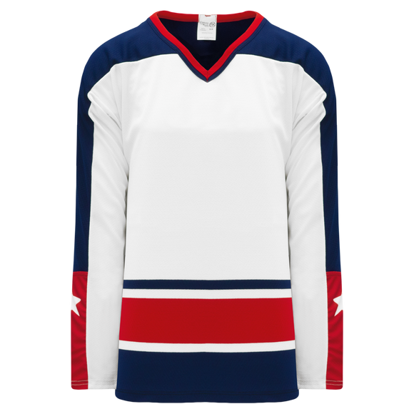 Athletic Knit (AK) H550BK-CLM691BK Pro Series - Knitted Columbus Blue Jackets White Hockey Jersey