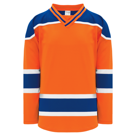 Athletic Knit (AK) H550BK-EDM819BK Pro Series - Knitted 2015 Edmonton Oilers Third Orange Hockey Jersey
