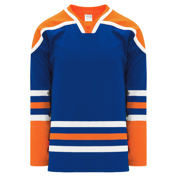Athletic Knit (AK) H550BKA-EDM820BK Pro Series - Adult Knitted Edmonton Oilers Royal Blue Hockey Jersey