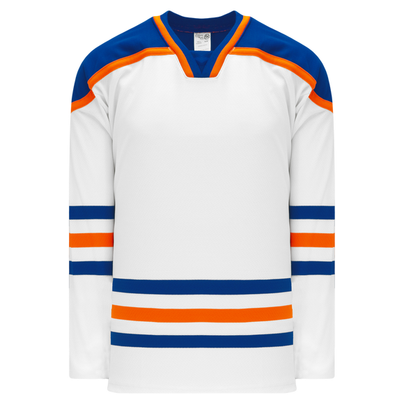 Athletic Knit (AK) H550BK-EDM821BK Pro Series - Knitted Edmonton Oilers White Hockey Jersey