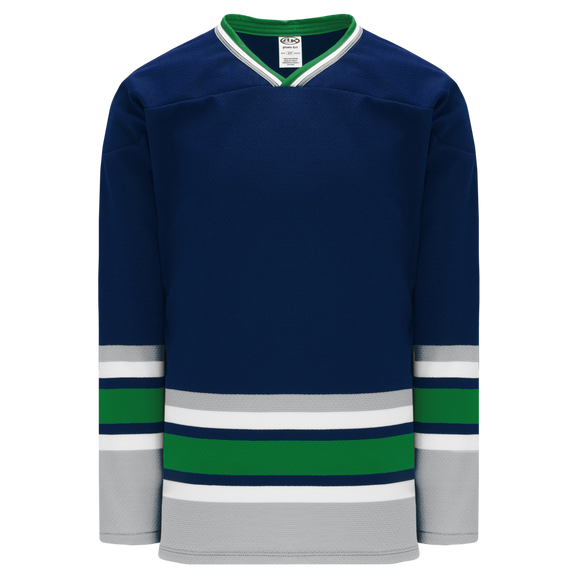 Athletic Knit (AK) H550BKA-HAR943BK Pro Series - Adult Knitted Hartford Whalers Navy Hockey Jersey