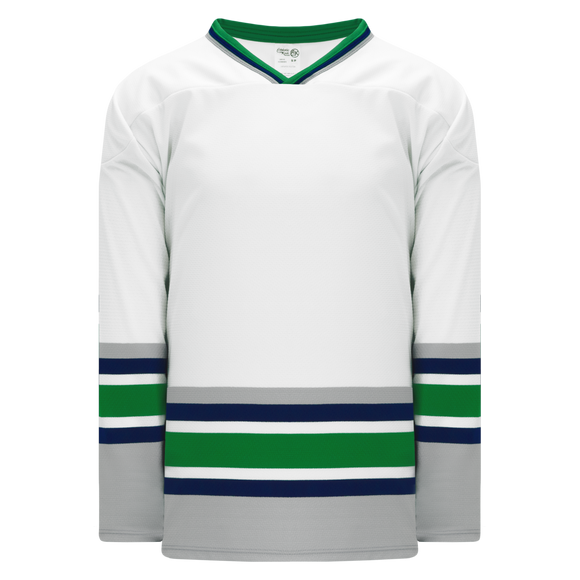 Athletic Knit (AK) H550BKA-HAR944BK Pro Series - Adult Knitted Hartford Whalers White Hockey Jersey