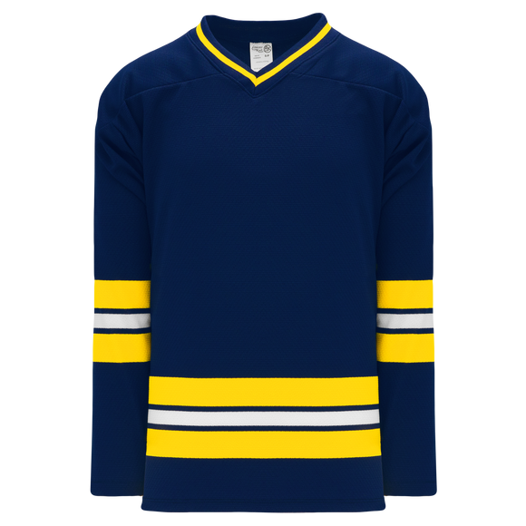 Athletic Knit (AK) H550BK-MIC589BK Pro Series - Knitted 2011 University of Michigan Wolverines Navy Hockey Jersey