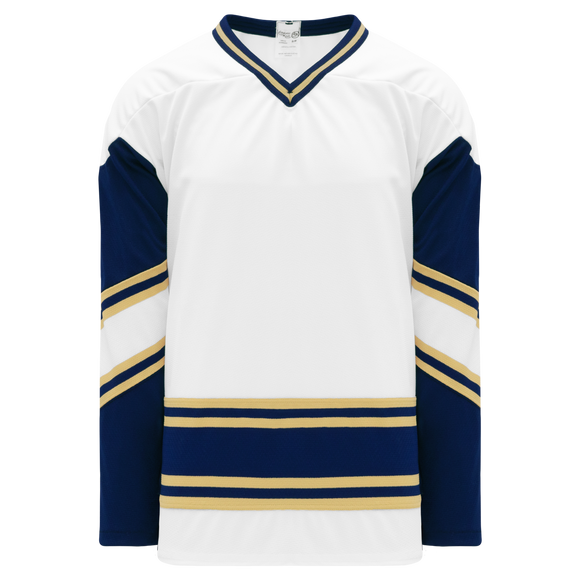 Athletic Knit (AK) H550BK-NDA521BK Pro Series - Knitted University of Notre Dame Fightin' Irish White Hockey Jersey