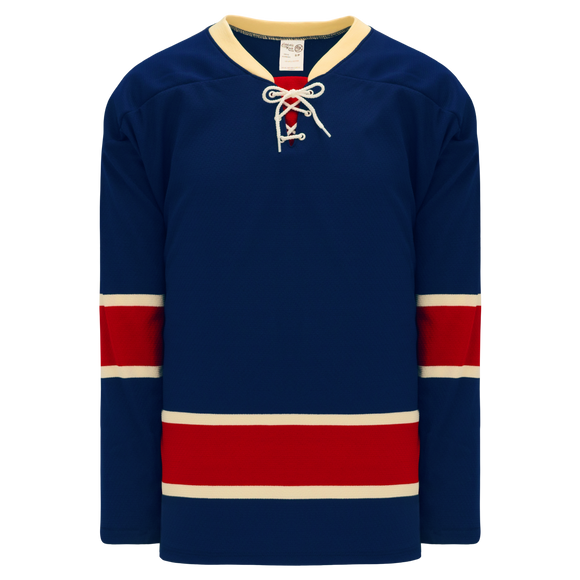 Athletic Knit (AK) H550BK-NYR512BK Pro Series - Knitted New York Rangers Heritage Classic Navy Hockey Jersey