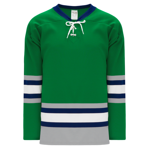 Athletic Knit (AK) H550BK-PLY945BK Pro Series - Knitted Plymouth Whalers Kelly Green Hockey Jersey