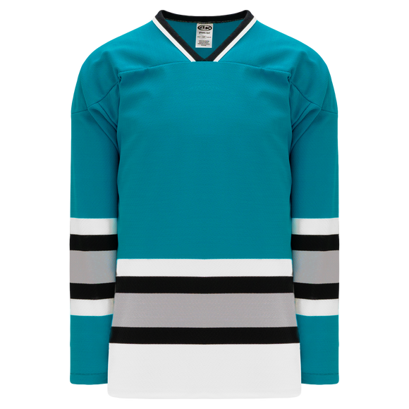Athletic Knit (AK) H550BK-SAN636BK Pro Series - Knitted San Jose Sharks Teal Hockey Jersey