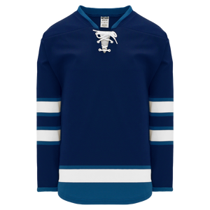 Athletic Knit (AK) H550BK-WIN595BK Pro Series - Knitted 2011 Winnipeg Jets Navy Hockey Jersey