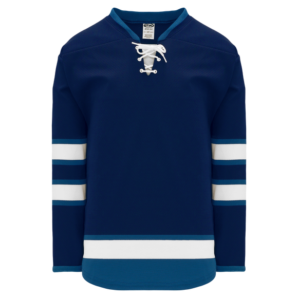Athletic Knit (AK) H550BKY-WIN595BK Pro Series - Youth Knitted 2011 Winnipeg Jets Navy Hockey Jersey