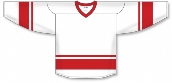Athletic Knit (AK) H6400 White/Red League Hockey Jersey - PSH Sports