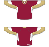 Athletic Knit (AK) H6600 AV Red/Vegas Gold/White League Hockey Jersey - PSH Sports