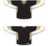 Athletic Knit (AK) H6600 Black/White/Vegas Gold League Hockey Jersey - PSH Sports