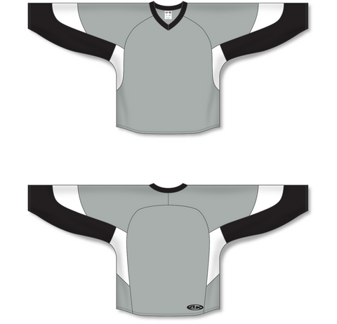 Image of Athletic Knit (AK) H6600 Grey/Black/White League Hockey Jersey - PSH Sports