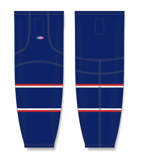 Athletic Knit (AK) HS2100 2017 Columbus Blue Jackets Navy Mesh Cut & Sew Ice Hockey Socks - PSH Sports