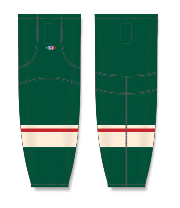 Athletic Knit (AK) HS2100 2017 Minnesota Wild Dark Green Mesh Cut & Sew Ice Hockey Socks - PSH Sports