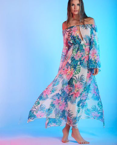 VESTIDO LARGO OFF SHOULDER ESTAMPADO FLORES