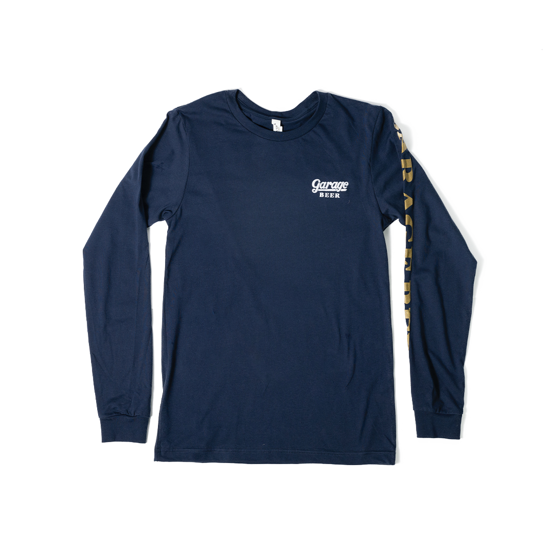 Long Sleeve Navy Garage Beer T-Shirt