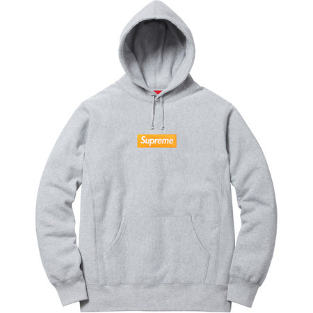 Supreme Grey/Orange Box Logo Hoodie