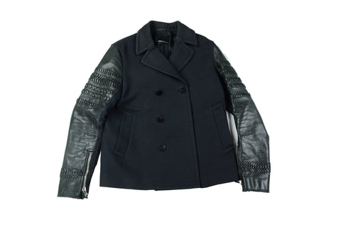 Phillip Lim 3.1 Leather Sleeve Peacoat
