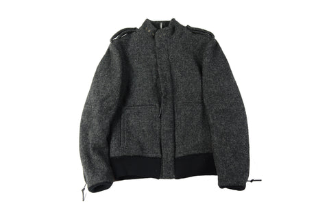 Dior Leather Sleeve Wool Bomber