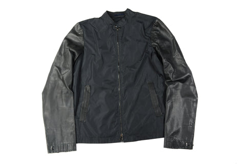 Lanvin Leather Sleeve Windbreaker