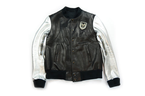 Balmain Leather Sleeve Teddy Jacket