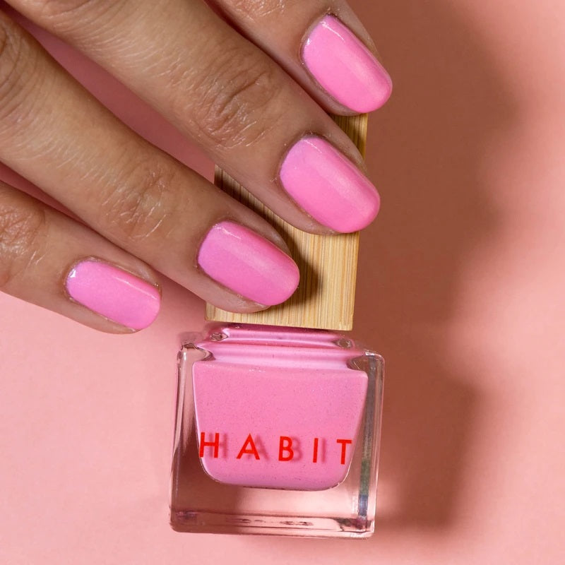 Bright pink coloured nails. The nail polish is from Habit Cosmetics and the color is one of their new Sprin/Summer 2021 colors.