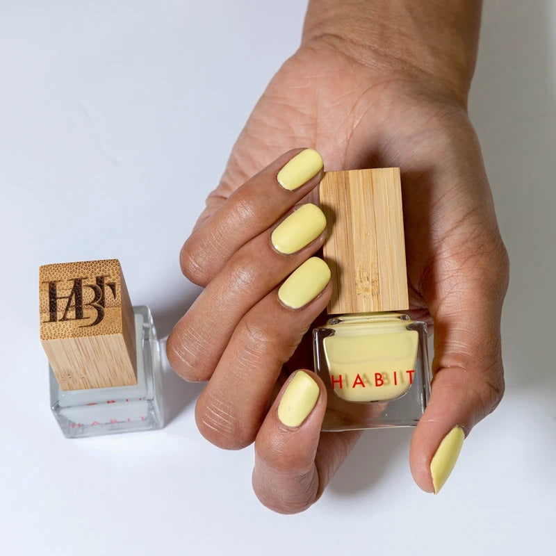 Pale, mellow yellow coloure nails, from Habit Cosmetics. This is one of their new Spring/Summer 2021 colors.