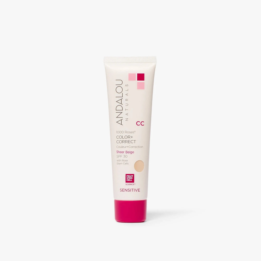 ANDALOU NATURALS - Sensitive 1000 Roses CC Color + Correct Sheer Beige SPF 30