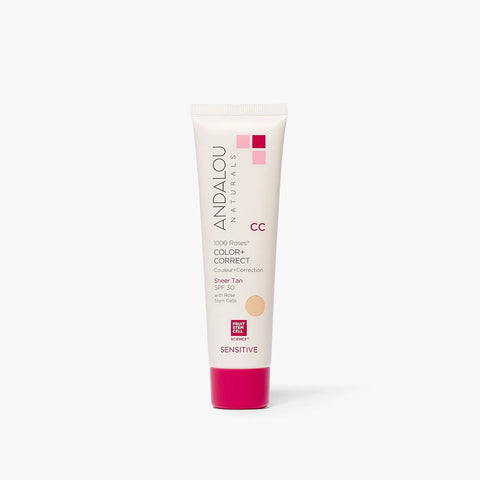 ANDALOU NATURALS - Sensitive 1000 Roses CC Color + Correct Sheer Tan SPF 30