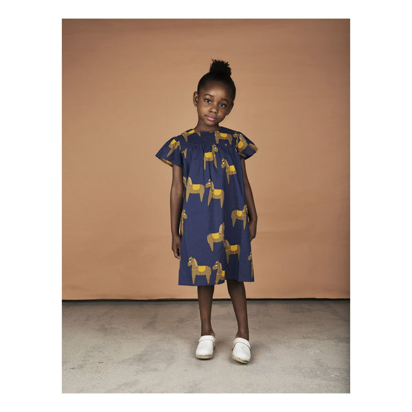 Mini Rodini Horse Navy Woven Frill Dress Australia