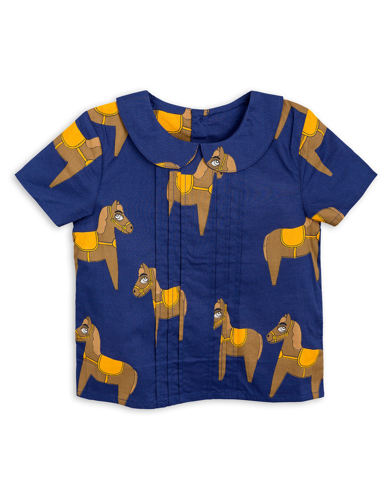 Mini Rodini Horse Navy Woven Blouse Afterpay Cool Kids Clothes