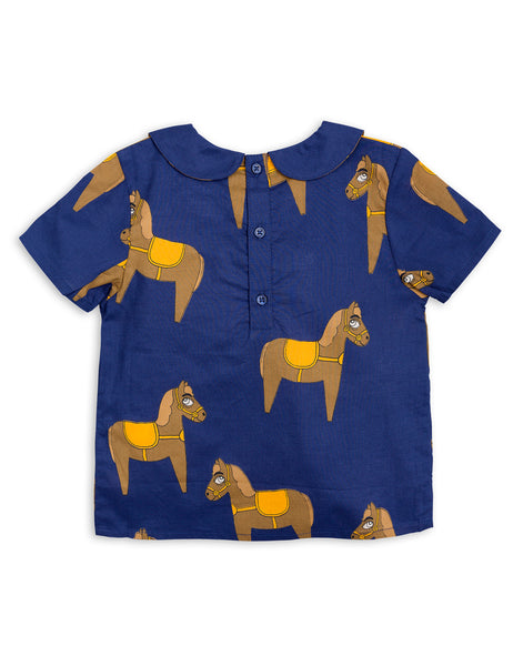 Mini Rodini Horse Navy Woven Blouse Afterpay Cool Kids Clothes Australia
