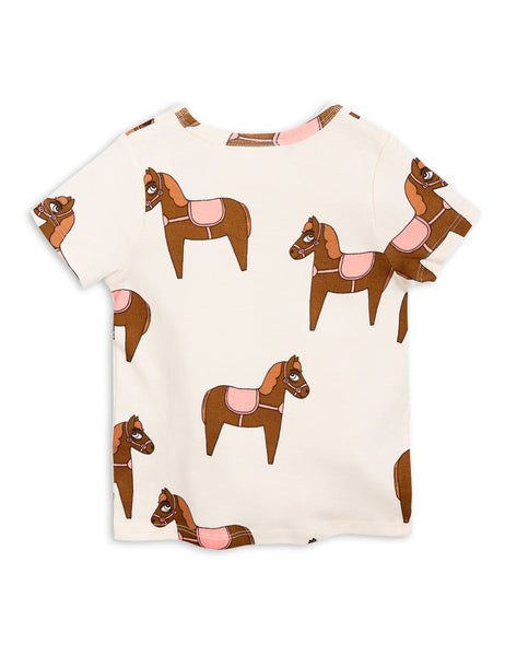 Mini Rodini Horse Pink Organic SS Tee Afterpay Cool Kids Clothes Australia