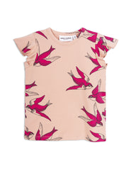 Mini Rodini Swallows Pink Organic Wing Tee Afterpay Cool Kids Clothes