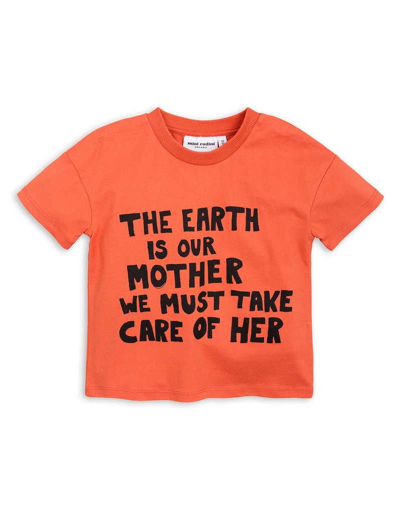 Mini Rodini Mother Earth Orange Organic SS Tee Afterpay Cool Kids Clothes