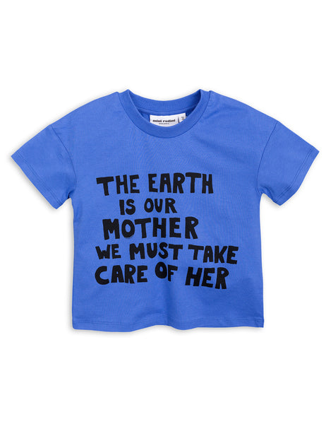 Mini Rodini Mother Earth Blue Organic SS Tee Afterpay Cool Kids Clothes